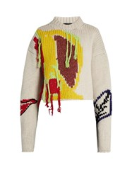 Joseph Abstract Embroidered Wool Cropped Sweater Cream Multi