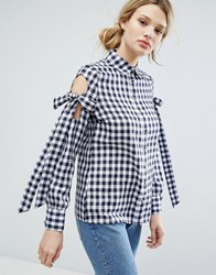 Lost Ink Gingham Shirt With Tie Up Bow Cold Shoulders Navy