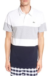 Lacoste Men's Colorblock Ultra Dry Golf Polo White Navy Blue Silver Chine