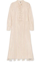 Figue Paolina Tasseled Striped Cotton And Lurex Blend Dress Beige