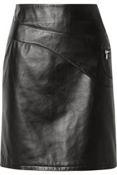 Sandy Liang Blossom Paneled Leather Skirt Black