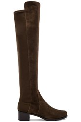 Stuart Weitzman Reserve Stretch Suede Boot Olive