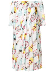 Ultrachic Printed Off Shoulder Dress White