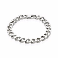 Think Positive Men's Sterling Silver Wide Chain Bracelet