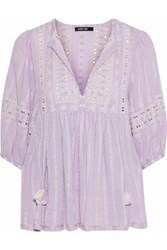 Love Sam Midsummer Peasant Embroidered Cotton Gauze Blouse Lavender