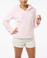 Pj Couture Plush Hooded Top And Shorts Pajama Set Heather Pink