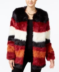 Jessica Simpson Rocky Faux Fur Colorblocked Jacket Biking Red