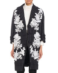 Andrew Gn Three Button Metallic Pinstripe Coat With Floral Lace Applique Black White
