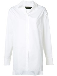 Alexandre Vauthier Oversized Button Shirt White