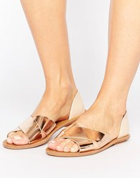London Rebel 2 Part Sandals Nude Rose Gold Copper