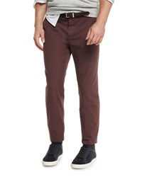 Brunello Cucinelli Flat Front Cotton Pants Maroon