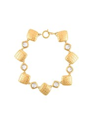 Chanel Vintage Quilted Choker Necklace Metallic