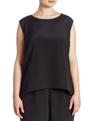 Caroline Rose Silk Crepe Tank Top Black