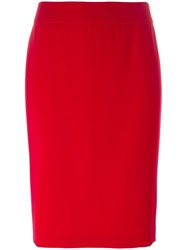 Armani Collezioni Rear Slit Pencil Skirt Red