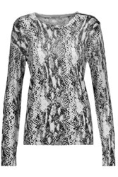 Equipment Ondine Snake Print Silk And Cashmere Blend Sweater Off White