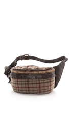 Campomaggi Tartan And Leather Oversized Fanny Pack Grigio