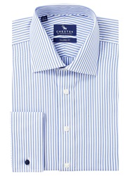 Chester By Chester Barrie Butcher Stripe Double Cuff Shirt Sky Blue