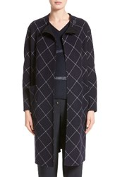 Armani Collezioni Women's Windowpane Wool And Cashmere Wrap Coat Navy Multi