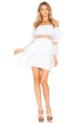 Suboo Closer Frill Off Shoulder Dress White