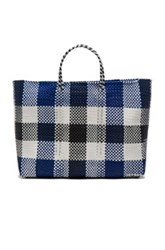Truss Large Tote In Blue White Checkered And Plaid Blue White Checkered And Plaid