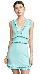 Susana Monaco Sleeveless Plunge Ruffle Dress Aventurine