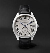 Cartier Drive De Automatic 41Mm Steel And Alligator Watch Silver