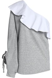 W118 By Walter Baker Marge One Shoulder Ruffled Poplin Paneled Cotton Blend French Terry Sweatshirt Gray