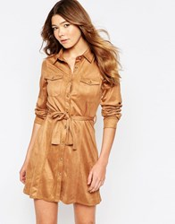 Girl In Mind Faux Suede Button Front Long Sleeves Shirt Dress Tan