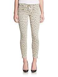 Current Elliott Soho Zip Animal Print Skinny Jeans Beige Leopard