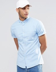 Asos Skinny Oxford Shirt In Blue With Short Sleeves Blue