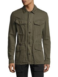 Belstaff Weymouth Cotton And Linen Military Jacket Military Green