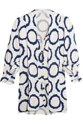J.W.Anderson Pussy Bow Printed Cady Blouse Indigo