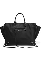 Balenciaga Papier B4 Zip Around Textured Leather Tote Black