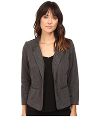 Kensie Stretch Herringbone Blazer Ks9k2220 Heather Dark Grey Combo Women's Jacket Gray