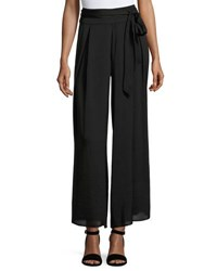 Chelsea And Theodore Belted Crepe Palazzo Pants Black