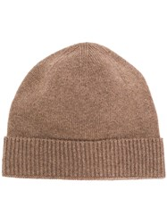 Pringle Of Scotland Ribbed Cashmere Beanie In Taupe Brown