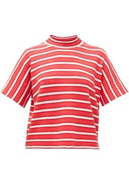 Barrie Striped Cashmere Sweater Red White