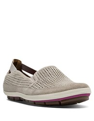 Cobb Hill Tara Perforated Suede Slip On Sneakers Taupe