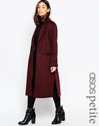 Asos Petite Coat In Relaxed Fit Berry