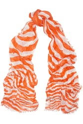 Jimmy Choo Suzu Zebra Print Cashmere And Silk Blend Scarf Orange