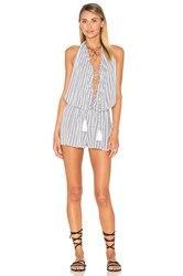 Indah Swoon Printed Lace Up Romper White