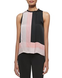 Halston Sleeveless Scarf Print Top Pwdr Brdr Scarf