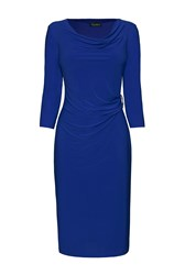 James Lakeland 3 4 Sleeve Side Ruched Dress Blue