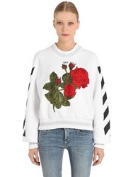 Off White Roses Embroidered Cotton Sweatshirt