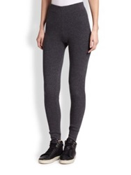 Saks Fifth Avenue Cashmere Ribbed Leggings Black Charcoal Grey