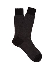 Pantherella Fabian Herringbone Cotton Blend Socks Black Grey