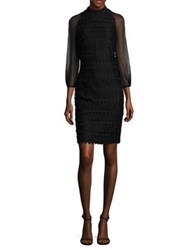 Kay Unger Geometric Cocktail Dress Black