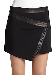Ohne Titel Zip Front Leather And Jersey Mini Skirt Black