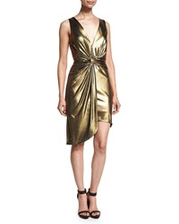Halston Heritage Sleeveless Twist Front Metallic Dress Yellow Gold