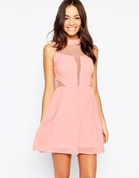 Liquorish Skater Dress With Lace Insert Beige